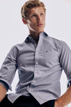 Pedro del Hierro Plain soft Non-Iron cotton shirt Blue