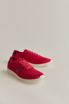 Pedro del Hierro Rubber-soled lace-up sneaker Red