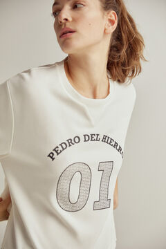 Pedro del Hierro Soft feel sweatshirt with rubberised logo Ecru