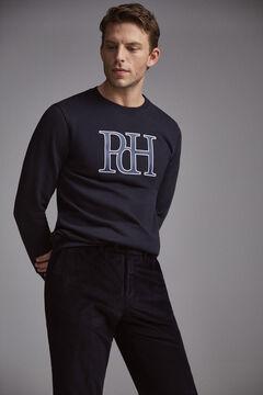 Pedro del Hierro Leather logo sweatshirt Blue