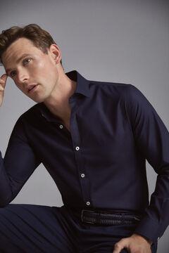 Pedro del Hierro Textured slim fit dress shirt Blue