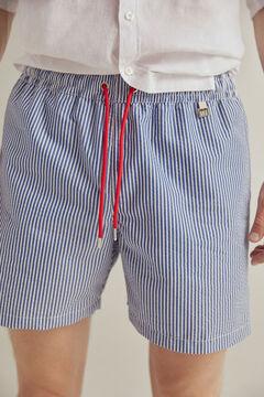 Pedro del Hierro Calções de banho de tecido seersucker bolsa da marca Azul