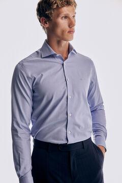 Pedro del Hierro Plain slim fit textured non-iron dress shirt Blue