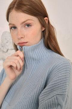 Springfield Camisola gola alta fecho-éclair mistura lã marinho