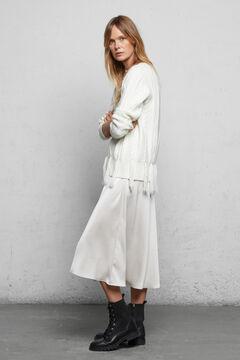 Fringed jumper and satin skirt set