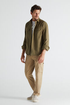 Garment-dyed and chino trousers set