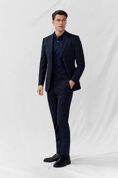 Slim cut navy blue window frame suit set
