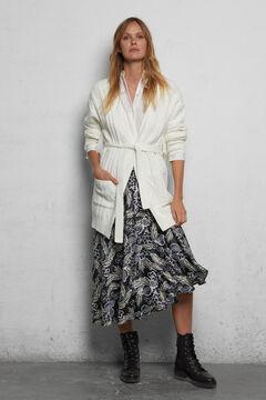 Belted caridgan and midi skirt.