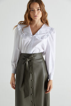 Cotton shirt with leatherette skirt set