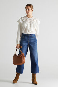 Set of ruffle blouse, palazzo trousers, split leather boot and hobo bag