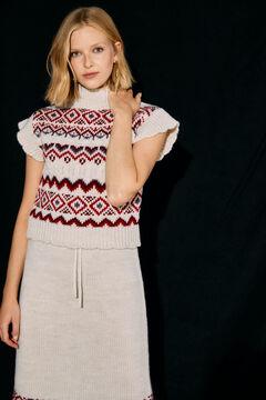 Slowlove sustainable jacquard waistcoat and skirt set