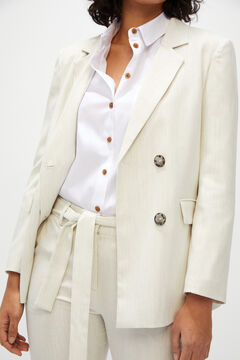 Melange slim fit fabric suit in white tones