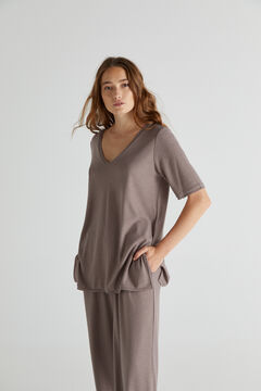 Jersey-knit top and trousers set