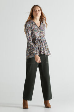 Printed blouse and straight trousers