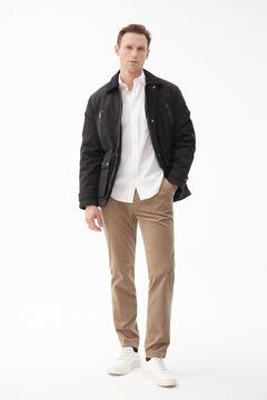 Corduroy collared jacket, white shirt and corduroy trousers set