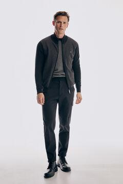 Zip cardigan, herringbone jumper, cargo trousers and urban boot set