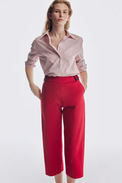Striped shirt and culotte trousers set
