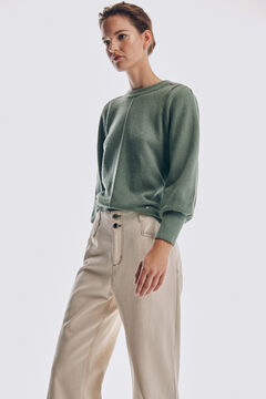 Puffed sleeve jumper and wide leg jeans set