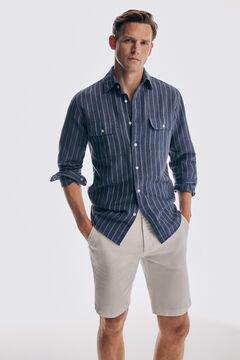 Linen striped shirt and denim bermuda shorts set