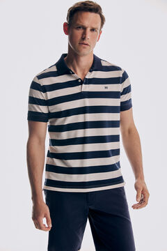 Striped polo shirt and textured bermuda shorts set