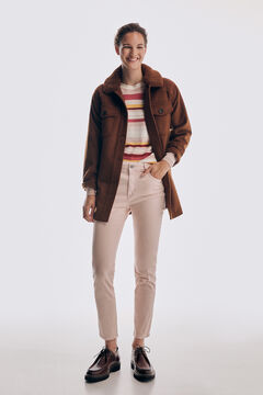 Set of overcoat over shirt, striped jumper and jeans