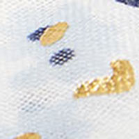 Cortefiel Floral fine scarf with gold foil Blue